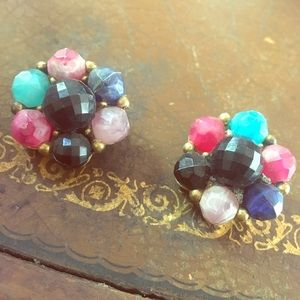 Colorful clip on vintage earrings